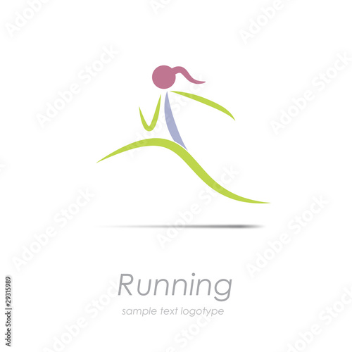 Logo woman running, stylized  # Vector