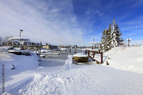 Boat lounge and marina during the winter