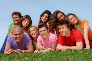 group of happy healthy youth