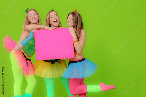 group of teens holiding blank board for copy space