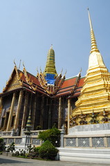 The renovating church of Wat Phra Kaew with Chedi