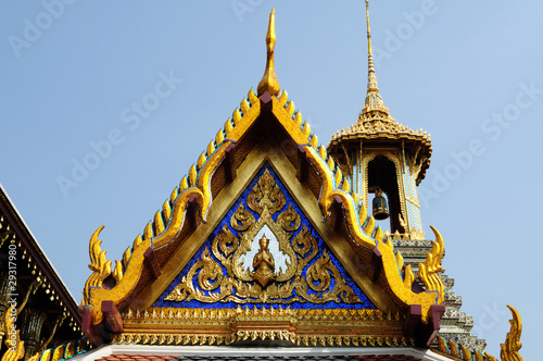 thai church  with golden thai painting and angel