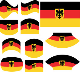 German flag set isolated on white - vector