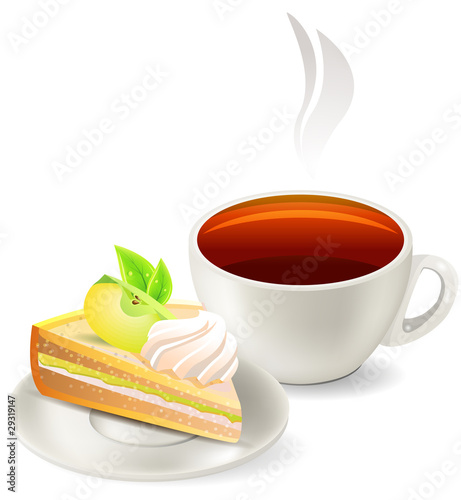 Cup of hot tea with slice of apple cake