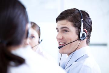 Man at a call center