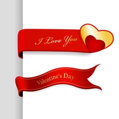 Set of Valentine's Day ribbons.