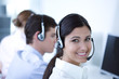 Young adults working in a call center