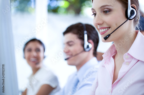People working at a call center