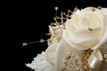 Wedding ornament. Satin golden flower