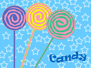 Colorful lollipop illustration on blue background