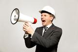 Workman Shouting Through Megaphone poster