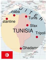 Tunisia map africa world business success background