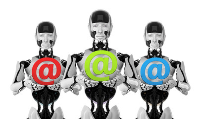 Robots with e-mail symbols