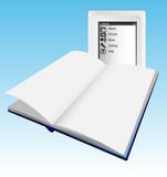 Ebook, Ereader and paper book poster