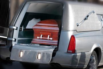 Coffin in a hearse
