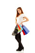 shopping teen girl smiling holding bags full-length