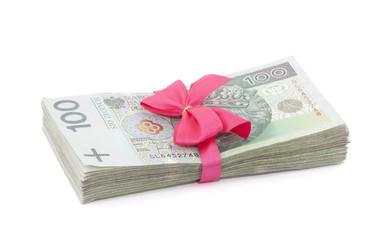 Polish money gift isolated on white