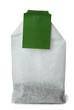 Tea bag with green tag