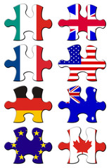 Flags in jigsaw pieces