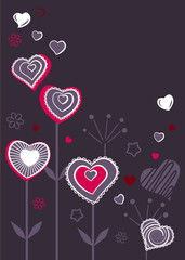 Valentine greeting card with different growing hearts
