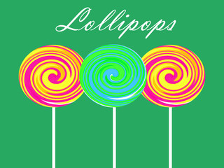 Colorful lollipops illustration on green background
