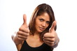 Two thumbs up from young woman