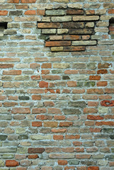 Italy Ravenna, medieval stone and brick wall