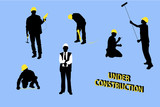 Isolated builders silhouettes on blue background