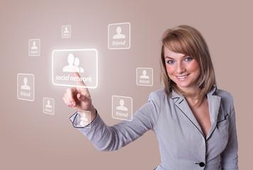 woman hand pressing Social Network icon