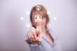 Woman pressing social media add friend button