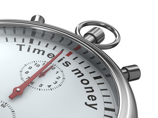 Time is money. Stopwatch on white background. Isolated 3D image