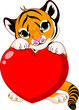 Cute  tiger cub holding heart