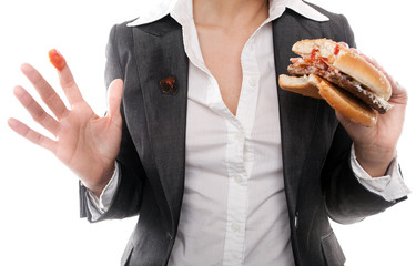 business frau mit fast food