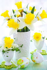 narcissus in vase and eggcups