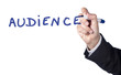 focus sur le mot audience écrit à la main