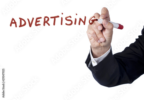 advertising mot publicité écrit au marker