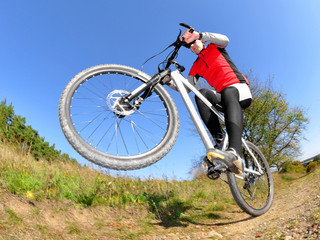 mountain biker - fisheye photo