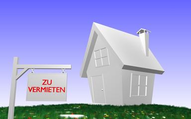 Haus mit Schild - ZU VERMIETEN