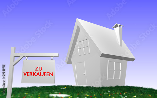 haus mit schild zu verkaufen von handmadepictures lizenzfreies foto 29349715 auf. Black Bedroom Furniture Sets. Home Design Ideas