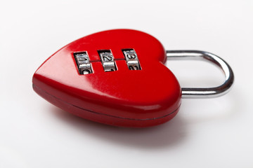 Red heart shaped lock