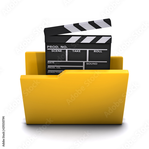 3d Folder for films with clapperboard icon