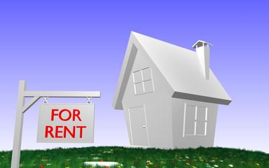 Haus mit Schild - FOR RENT