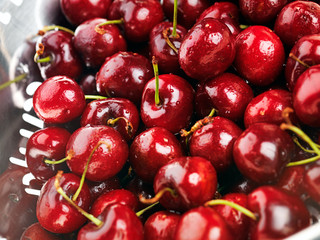 Freshly washed cherries