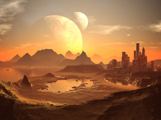 Twin Moons over Alien Desert City with Pyramids