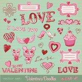 vector set: Valentine's doodles