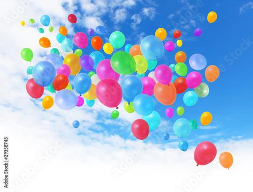 Leinwandbild Motiv Colorful balloons on blue sky