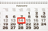 calendar with red mark on 14 February - Valentines day poster