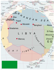 Libya map africa world business success background