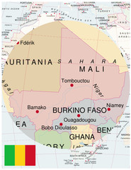 Mali map africa world business success background