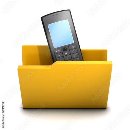 3d Folder containing mobile phone